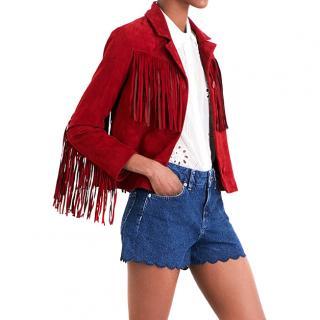 Maje 'Varsity' Fringed Suede Jacket