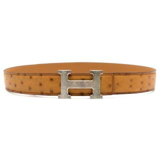 Hermes Caramel Ostrich leather belt