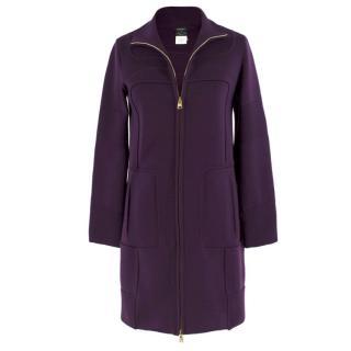 Versace purple zip-through wool-knit coat
