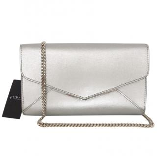 Furla silver clutch on chain