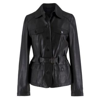Luisa Cerano belted leather jacket