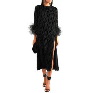 16ARLINGTON feather-trimmed velvet-devore midi dress