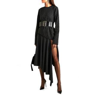 16ARLINGTON asymmetric pinstriped dress