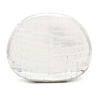 Nancy Gonzalez silver crocodile box clutch