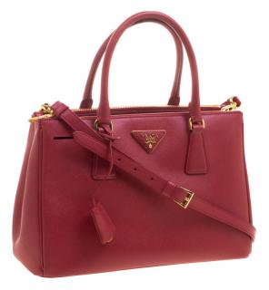 Prada Red Saffiano Lux Leather Double Zip bag