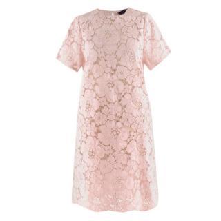 BCBG Max Azria Pink Lace Sheer Shift Dress