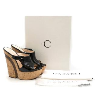 Casadei patent leather platform wedge Sandals