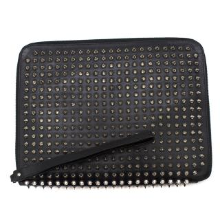 Christian Louboutin Black Cris Spiked Leather Ipad Case