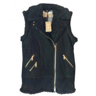 Burberry Black Suede & Shearling Gilet