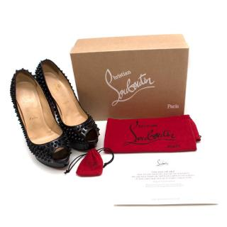 Christian Louboutin Lady Peep Spikes 145mm leather pumps