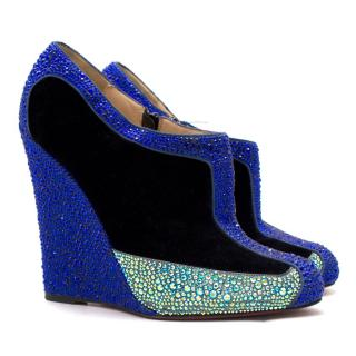 Christian Louboutin crystal-embellished wedge ankle boots