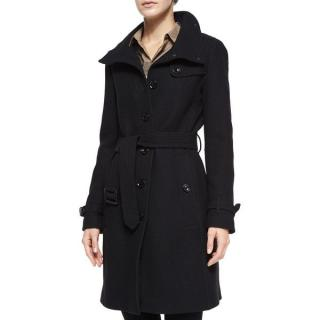 Burberry Brit Rushfield Wool-Blend Belted Single Breasted Coat