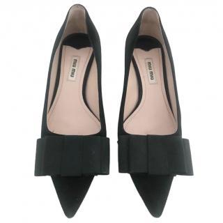 Miu Miu Black Suede Kitten Heel Pumps