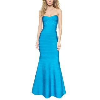 Herve Leger Sara turquoise bandage gown
