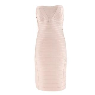 Herve Leger Adobe gold summer strapless bandage dress