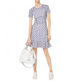 Michael Michael Kors Blue and White Daisy Embroidered Eyelet Dress