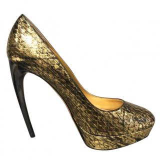 Alexander McQueen gold & black pumps