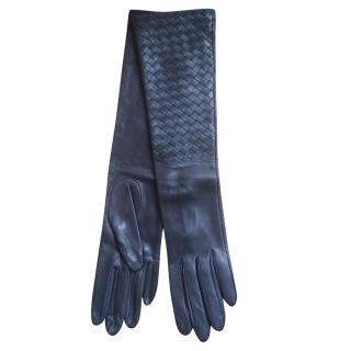 Bottega Veneta long intrecciato leather gloves