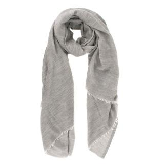 Chanel large rose-jacquard cashmere scarf