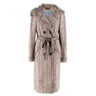 Missoni Blue & Pink Woven Belted Coat