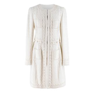 Andrew GN white collarless tweed coat