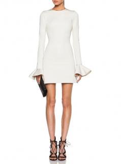 David Koma white flared sleeve white dress