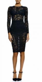 Misha Collection black floral-lace bodycon dress