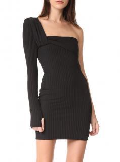 Baja East one shoulder knit stretch black dress