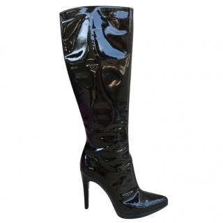 Casadei black patent stiletto boots