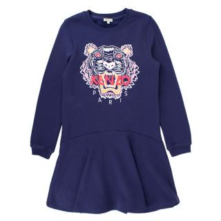 Kenzo girls tiger-embroidered cotton-jersey dress