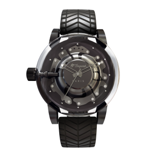 NEW S.T. Dupont Hyperdome BE EXTREME satin gunmetal grey chrome Watch black rubber strap