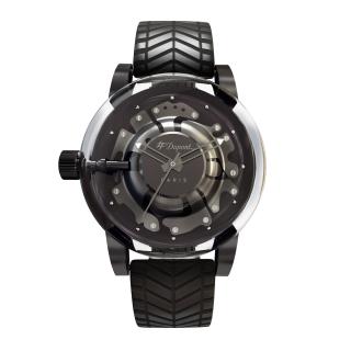 NEW S.T. Dupont Hyperdome BE EXTREME satin gunmetal grey chrome Watch black rubber strap