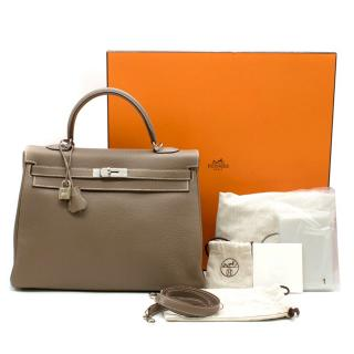 Hermes Kelly 35cm Etoupe Togo leather bag