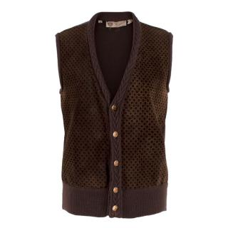 Gucci vintage suede and wool knit monogram waistcoat