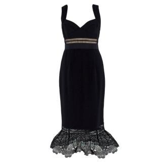 Self-Portrait black lace-trimmed peplum-hem dress