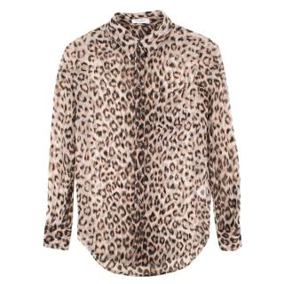 Equipment leopard-print silk-chiffon shirt