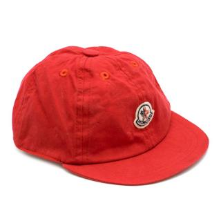 Moncler children's red cotton-canvas cap