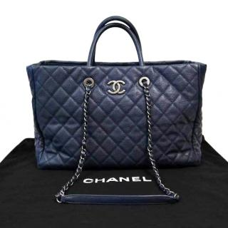 Chanel blue leather large shopping tote