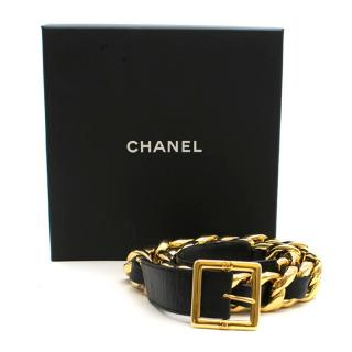Chanel vintage gold-plated chain & leather belt
