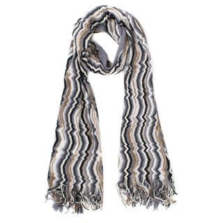 Missoni zigzag-knit fringed wool scarf