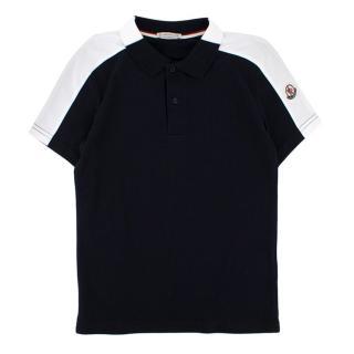 Moncler boys striped-shoulder cotton polo shirt
