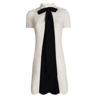 Valentino Cream Contrast Bow Tie Shift Dress