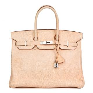 Hermes Orange Dalmation Buffalo Leather Birkin 35cm