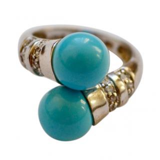 Italian Turquoise & Zircon silver ring