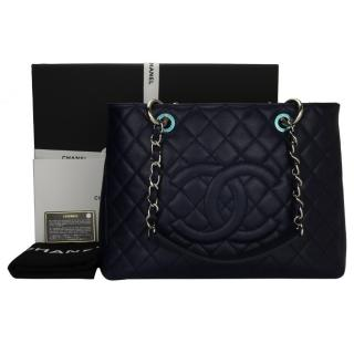 CHANEL Navy Caviar Grand Shopping Tote