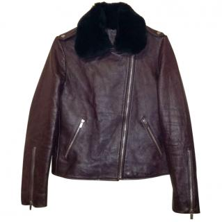 Comptoir Des Cotonniers Lamb Leather Jacket with Rabbit Fur Collar