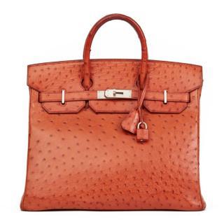Hermes Tangerine Ostrich Leather Birkin 32cm HAC