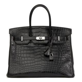 Hermes Black Matte Alligator, Clemence & Box Calf Touch Birkin 35cm