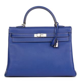 Hermes Bleu Electric & Mykonos Epsom Candy Collection Kelly 35cm
