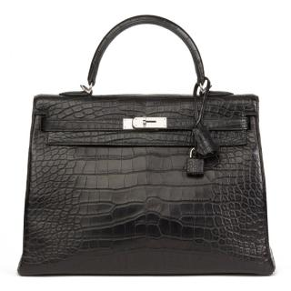 0d4746ba21240a Hermes Black Matte Mississippiensis Alligator Leather Kelly 35cm